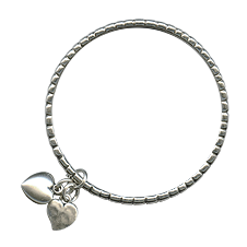 Danon Textured Bangle with Silver Heart Charms